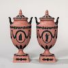 Pair of Wedgwood Terra-cotta and Black Jasper Vases and Covers