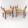 Pair of Bronze-mounted Mahogany Window Seats