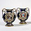 Pair of Emile Galle Earthenware and Enamel Portrait Vases