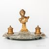 Gilt-bronze and Marble Figural Inkstand