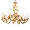 Louis XVI Style Bronze Dore 12-light Chandelier
