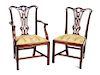 A Set of Twelve English Dining Chairs Height 37 inches.