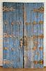 PAIR BLUE WOOD DOORS 1880