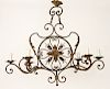 FRENCH WROUGHT IRON SIX LIGHT CHANDELIER C.1920