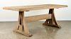 ANTIQUE OAK TRESTLE TABLE MOLDED EDGE 1900