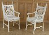PAIR NEOCLASSICAL CAST IRON GARDEN CHAIRS C.1880