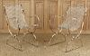 PAIR WROUGHT IRON GARDEN CHAIRS WIRE SEATS 1940