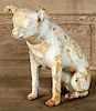 PAINTED WHITE CAST IRON GARDEN ORNAMENT DOG
