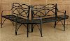 4 PIECE IRON GARDEN SET 2 SETTEES 2 CHAIRS