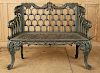 NINETEENTH CENTURY GREEN CAST IRON GARDEN BENCH