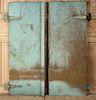 PAIR COPPER CLAD DOOR PANELS IRON HINGES