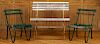 THREE PAINTED WOOD GARDEN SEATS BENCH AND CHAIRS