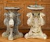 PAIR CAST STONE GRIFFIN FOUNTAIN BASES 1940