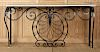CREAM MARBLE TOP BLACK WROUGHT IRON CONSOLE