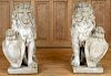 PAIR CAST STONE SEATED LIONS & SHIELD SCULPTURES