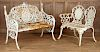 TWO WHITE PAINTED GARDEN BENCHES