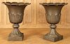 PAIR PAINTED CAST IRON URNS WITH SCALLOPED RIMS