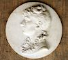 FRENCH CARVED MARBLE PLAQUE OF WOMAN C. 1880