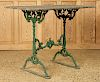 LATE 19TH C. CAST IRON GARDEN TABLE SLATE TOP