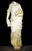 CARVED MARBLE FEMALE FIGURE HOLDING WOOD