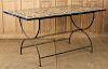 MARBLE SPECIMEN TABLE ON IRON BASE