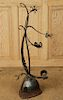 ABSTRACT IRON SCULPTURE ON CARVED WOOD BASE