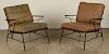 PAIR VINTAGE WROUGHT IRON PATIO LOUNGE CHAIRS1970