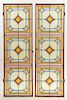 PAIR LEADED STAINED GLASS WINDOWS IRON FRAMES