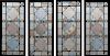 LOT OF FOUR STAINED GLASS PANELS IN METAL FRAMES