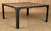 IRON COFFEE TABLE WITH MARQUETRY WOOD TOP