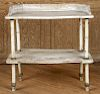 MARBLE TOP POTTING TABLE WITH IRON LEGS