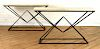 PAIR OF ANGULAR IRON AND PARCHMENT CONSOLE TABLES