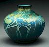 Tiffany Blue Millifori Low Vase.