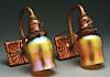 Pair Of Tiffany Studios Sconces with Two Mini Tulip Shades.
