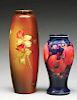 Lot of 2: Hand Painted Vases, Owens & Moorcroft.