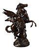 Picault Bronze Sculpture Of Perseus Taming Pegasus.