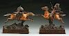 Lot of 2: T. Curtis (1895 - 1930) Sculptures of an Indian on Horseback.