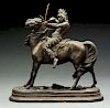 Cast Iron Indian on Horse Statue.