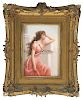 Framed Porcelain Picture Of Lady Pink Dress.