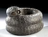 Fabulous Aztec Basalt Rattlesnake Mortar
