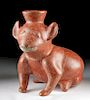 Fine Colima Redware Seated Dog Vessel