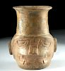 Rare Chavin Pottery Janus Head Vessel -Jaguar & Serpent