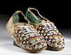 19th C. Plains Indian Beaded Leather Moccasins