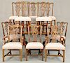 Henredon eleven piece dining set to include ten Chippendale style chairs and a double pedestal table with ball and claw feet, two 24...