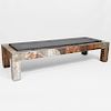 Paul Evans Mixed-Metal Patchwork Coffee Table with Slate Top