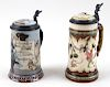 TWO METTLACH BEER STEINS #2184/967 AND #2090