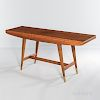 Gio Ponti for Singer & Sons Walnut and Brass Console
