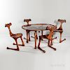 Four Hunter Studios Side Chairs and Glass-top Oval Table