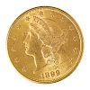 U.S. 1899-S $20 LIBERTY HEAD GOLD COIN