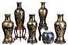 Six Gilt Black and Cobalt Blue Chinese Vases